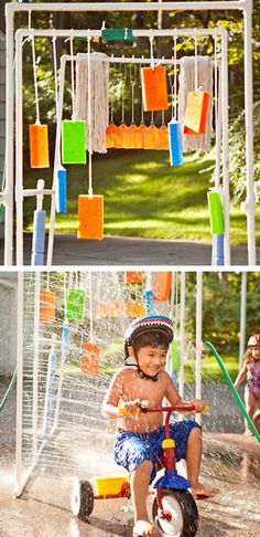 another variation of the backyard kiddie car wash - i've really got to make one of these