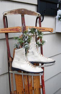 Skates and sled.