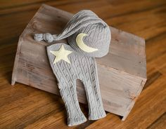 Upcycled Newborn Pants and Hat with Moon and Star Newborn Photography Prop Ready to Ship