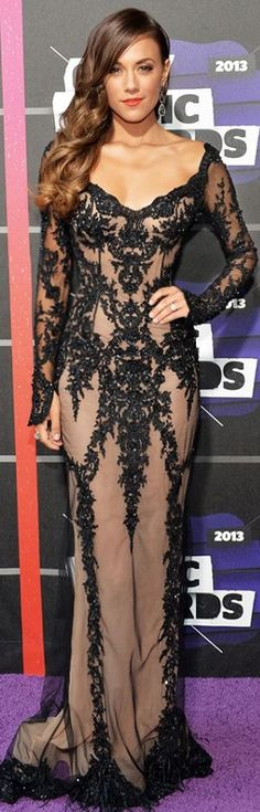 Country music star Jana Kramer looks spectacular on the red carpet for the 2013 CMT Music Awards in a PAVONI ♥✤ | Keep the Glamour | BeStayBeautiful