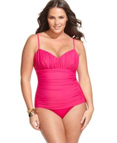 Miraclesuit Plus Size Swimsuit, Rialto Ruched One Piece - Plus Size Swim - Plus Sizes - Macy's