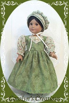 Handmade by My Treasure Attic (aka..Carolyn's Creations) for the American Girl Doll, Josefina. 3pc  1850s style, Day Frock Ensemble.