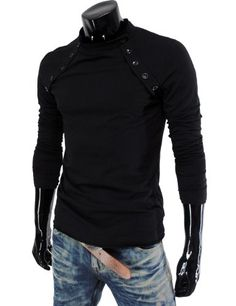 TOPSELLER! TheLees (VT07) Mens Casual Long Sleeve Button Point Round neck Tshirts $19.53