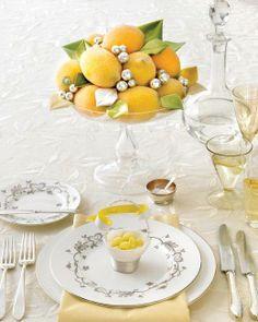 Glittered Faux Lemons and Velvet Leaves How-To
