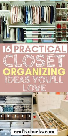 Try these practical closet organizing tips and start organizing home. These ideas to organize closet are simple, practical and inspiring. #organizecloset #organization #organizetips
