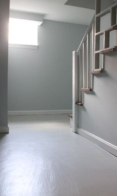 Painted Concrete Floors - love the light wall color for the basement too