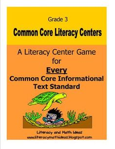 Yippppeeeeee!  A Common Core Literacy Center Game for EVERY Informational Text Standard!  10 literacy centers + 2 bonus centers!  The game cards cover social studies, science, and health topics.  This way, students build background knowledge and review different topics while they play!  Progress charts and  labels are included too! Common Core Made Easier! Answer Keys Are Included too