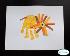 Rawr! Cute Lion :D footprint art, hands, handprint art, hand prints, lamb, lions, kid craft, art projects, crafts