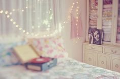 pretty bed, lights, pastel, room