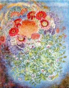 Wheat, flowers, grapes - Kateryna Bilokur - 1950