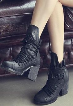 lace up boots Heel Booti, Leather Boots, Ankle Boots, Ankl Boot, Leather Lace, Heels, Chunki Heel, Motorcycle Boots, 3499 Black