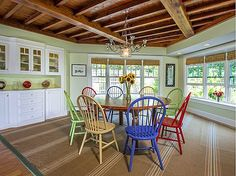 Bright colors + natural light + wood beams  + built-ins  #Zillow