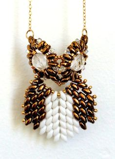 Beaded Owl Necklace/ Beaded Necklace/ Beaded Swarovski by Ranitit