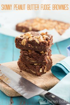 Skinny Peanut Butter Fudge Brownies recipe from www.themessybakerblog.com