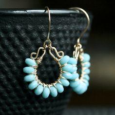 Handmade blue dangle earrings, light blue, wire wrapped earrings, beaded, Czech glass, 14k gold filled, Mimi Michele Jewelry