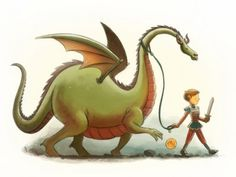 Boy Walking Dragon print by Mike Maihack $10 for 11x14