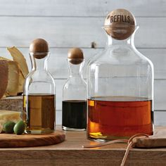 Glass Bottles With Wood Stoppers - Oil + Vinegar | west elm