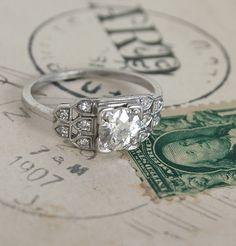 Art Deco Epaulet Diamond Engagement Ring.  LOVE