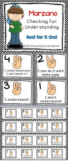 These are simple Checking for Understanding Marzano Posters. I was looking for some that have a plain black background. So, I created these.  Hope you can use them in your classroom. ---Teaching by the Beach