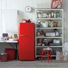 red kitchen, kitchen shelves, cabin kitchens, dream houses, kitchen shelving