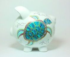 """Sea Turtle Piggy Bank  - Hand Painted Ceramic - Large Size: 8"""" x 7.5"""" x 7"""" on Etsy, $25.00"""