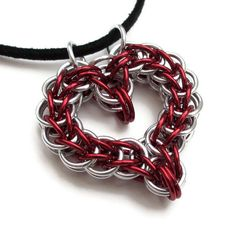 Full Persian chainmail heart pendant in red by TattooedAndChained, $30.00