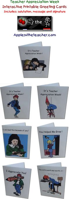 Interactive printable teacher appreciation cards.  These cards are great for students to either type up on the computer or print out and hand write a special message!   http://www.apples4theteacher.com/holidays/teacher-appreciation/printables/cards/