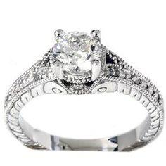 1.33CT SI Diamond Engagement Ring Vintage Antique Hand Engraved 14K White Gold. $2,799.00, via Etsy.