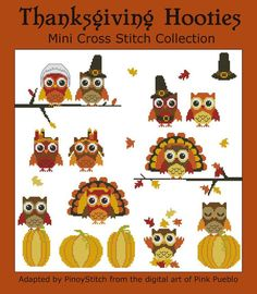 thanksgiv mini, crossstitch, mini collect, owl, chart