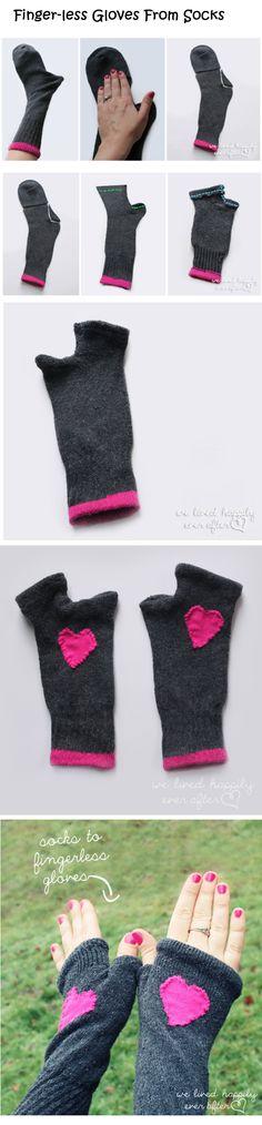 Finger-less Gloves From Socks Tutorial