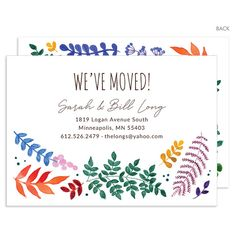 Watercolor Botanicals Moving Announcements