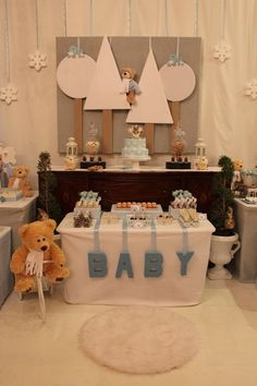 Winter baby shower dessert table #baby #shower #backdrop #dessert #table #ornaments #snowflakes