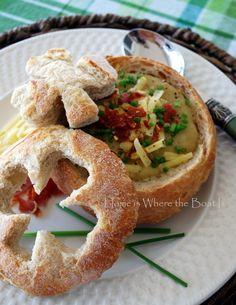 Potato soup in bread bowl for St. Patrick's Day