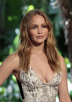 Jennifer Lawrence huge cleavage in a low cut snakeskin dress