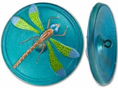 40mm Czech Glass Round Blue and Green Dragonfly Green Background Button