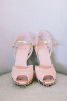 Pink Peep Toes from Stuart Weitzman | On Style Me Pretty: http://www.StyleMePretty.com/2014/02/24/modern-new-york-wedding-at-the-foundry/ Maggie Harkov Photography