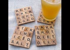 gift ideas, homemade gifts, scrabble tiles, holiday gifts, xmas gifts, tile coasters