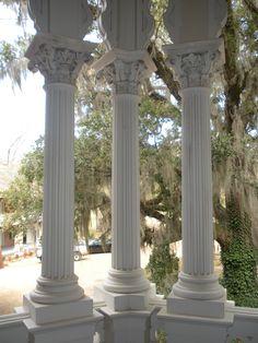 Columns on the back balcony of Longwood Plantation, Natchez, MS