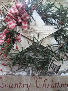 Country Christmas - love the star. What a great idea! idea, texas style, wood, triangles, country christmas, wreath, light, front porches, christmas stars