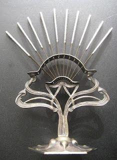Antique Polish Art Nouveau Fruit Knives with stand