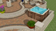 Fire Pit Designs next to hot tubs | ... designed as a hot tub area as well as an apron to step off the patio