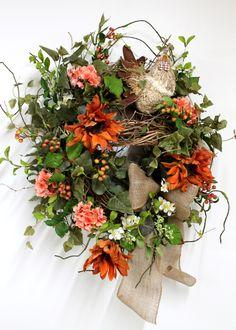 Country Front Door Wreath, Everyday Wreath, Straw Rooster, Elegant Sunflowers, Honeysuckle, Summer Wreath, Country Decor