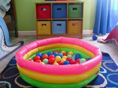 Kiddie pool ball pit,sounds fun for a two to three year old birthday party.
