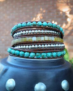 Turquoise Leather Wrap Bracelet with by CrystalFascination on Etsy