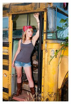 Not the pose or clothes...but I have a school bus lol