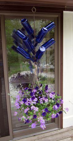 Hanging basket bottle tree