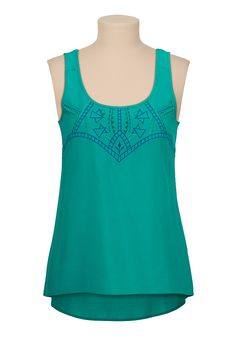 Embroidered high-low lattice back tank - maurices.com