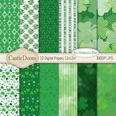 St. Patrick's Day Digital Scrapbook Paper  shamrock by CastleDoors, $4.00