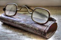 antique eye glasses & tin case