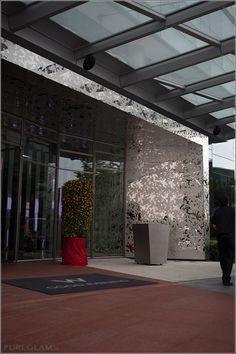 Steel glass canopy on pinterest for Hotel entrance design
